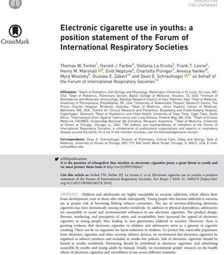 Electronic cigarette use in youths: a position statement of the Forum of International Respiratory Societies