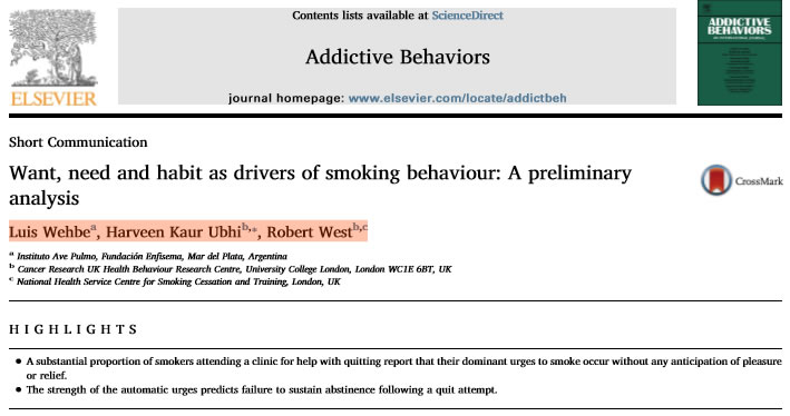 Articulo comentado Want, need and habit as drivers of smoking behaviour: A preliminary analysis